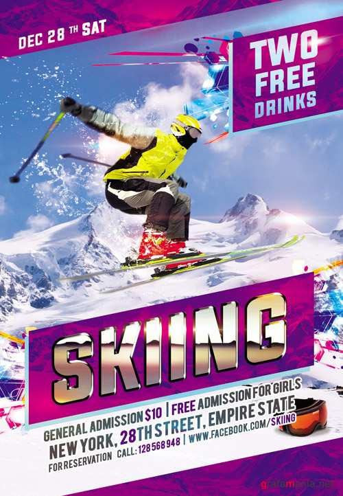 Flyer PSD Template - Skiing