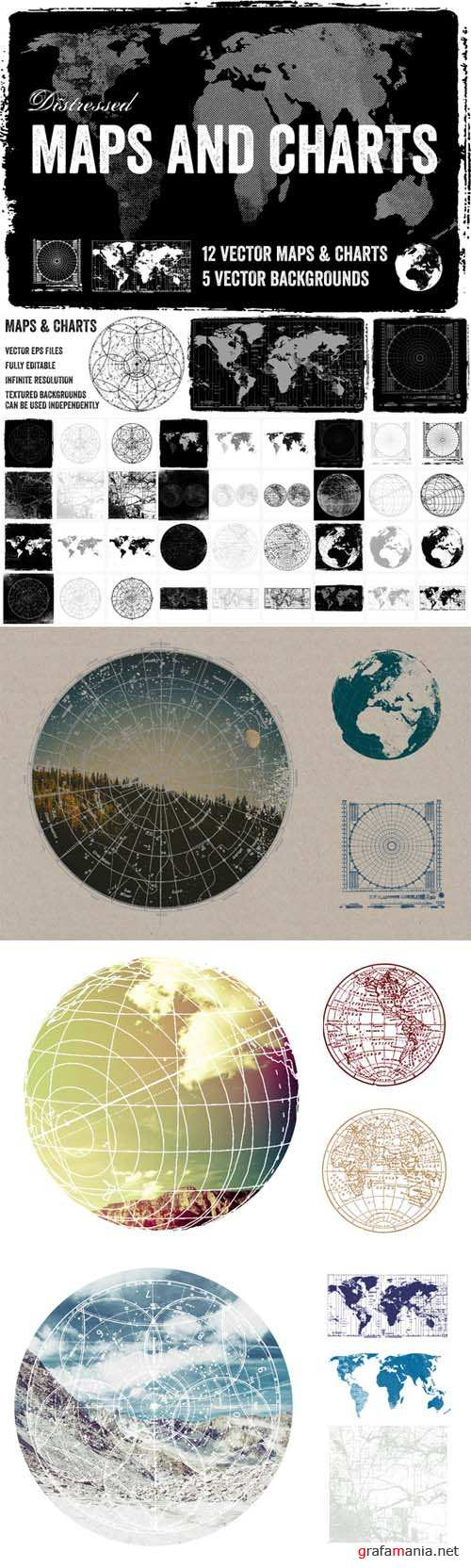 Distressed Vector Maps and Chart