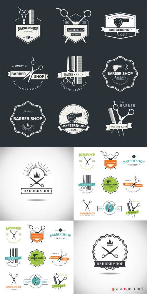 Barbershop Vector Logos Set