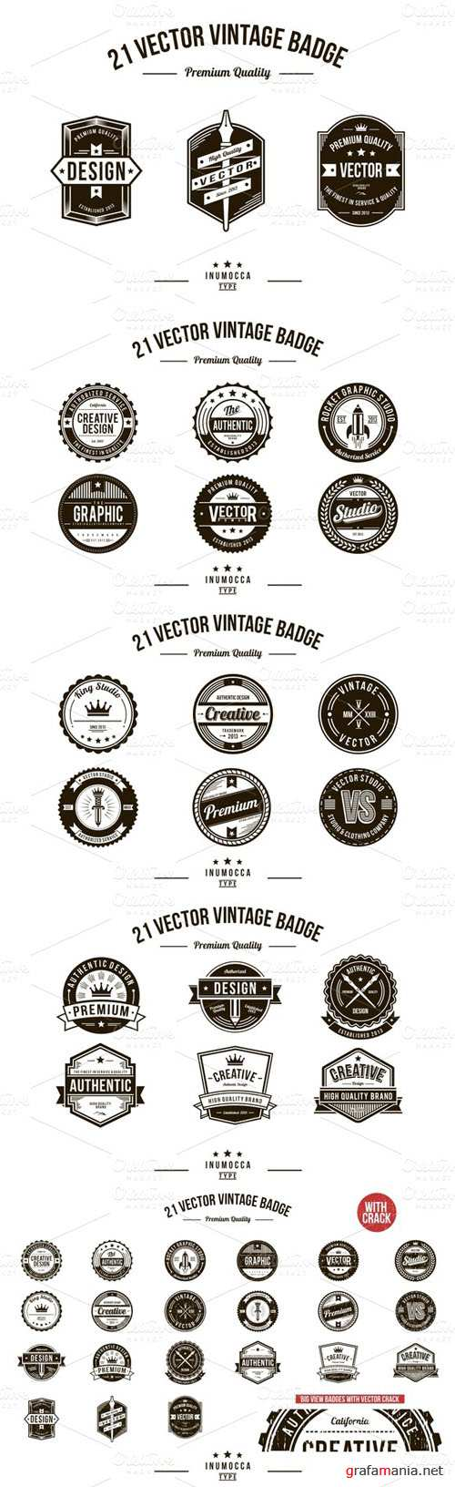 21 Vintage Badges (CLEAR & CRACK) - CM 13142