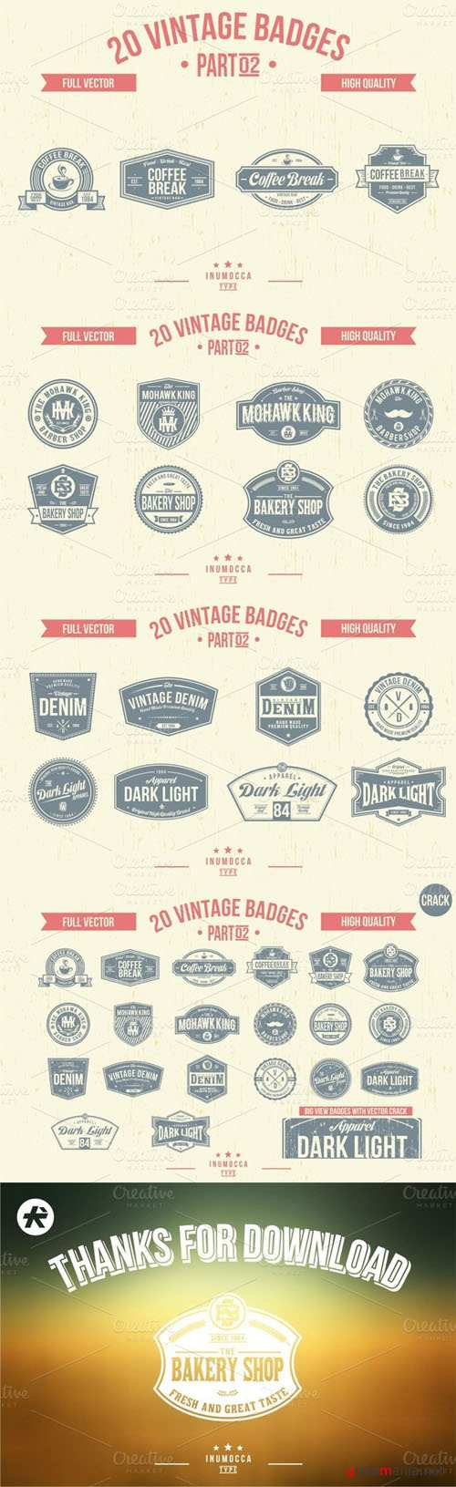 2O Vintage Badges (CLEAR & CRACK) 02 - CM 15730