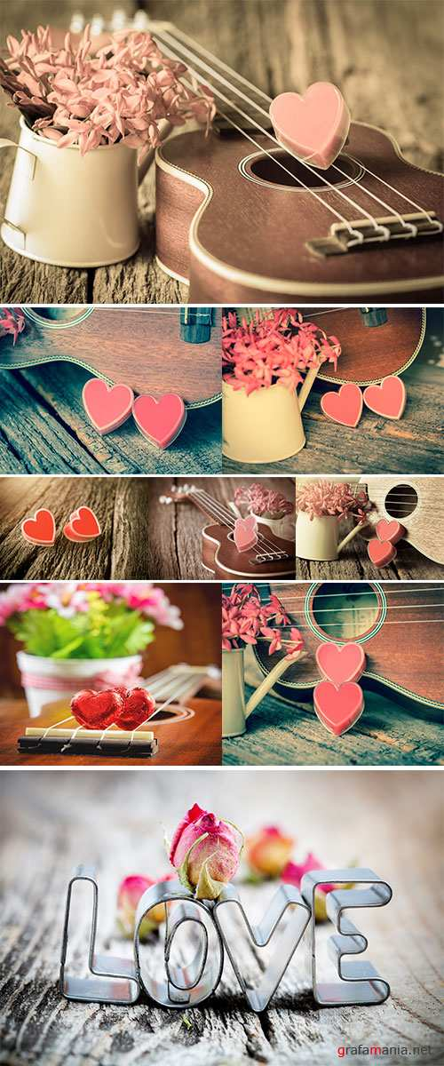 Stock Photo Valentines Day background with hearts and guitar