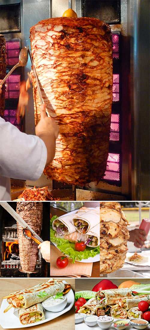 Stock Photo Kebab meat cooked in the special vertical furnace