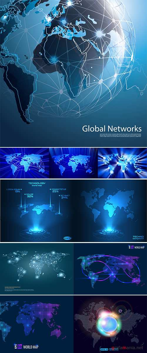 Stock Global Networks, Vector for Your Business