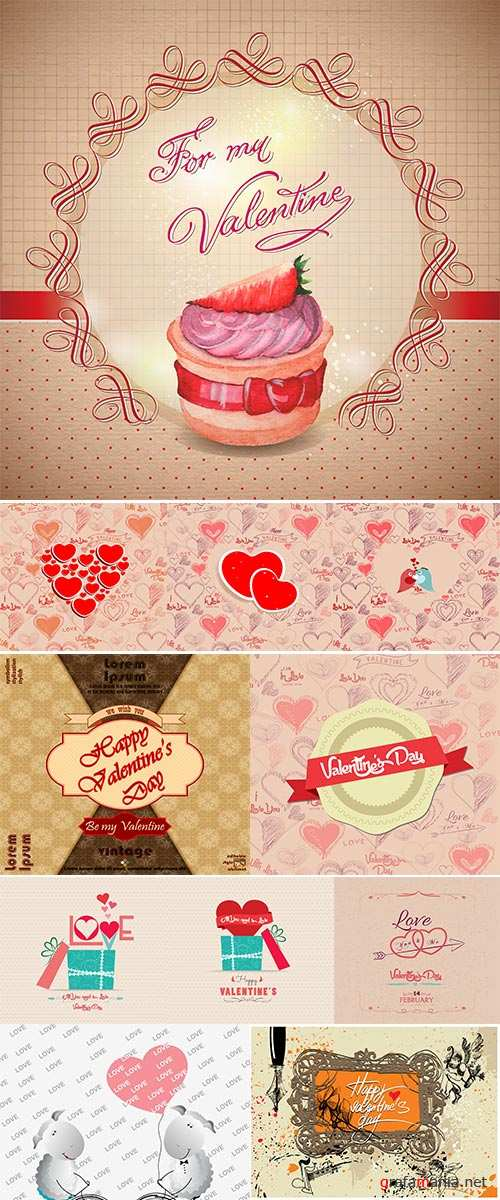 Stock Vintage valentines day greeting card