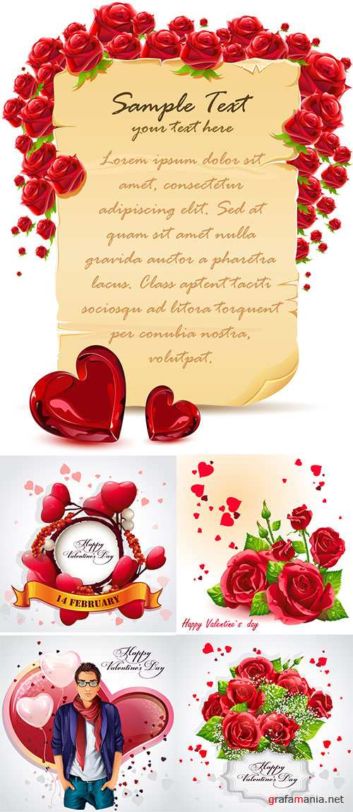 Stock Greeting card Happy Valentine's Day with red roses and yellow ribbon