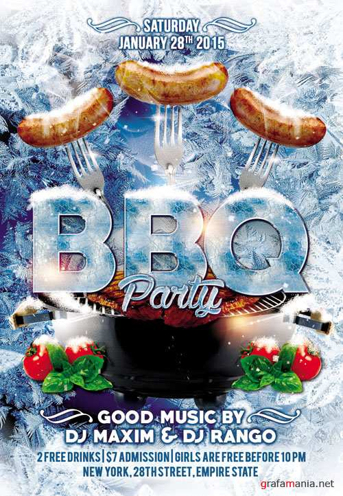Flyer PSD Template - Winter BBQ Party