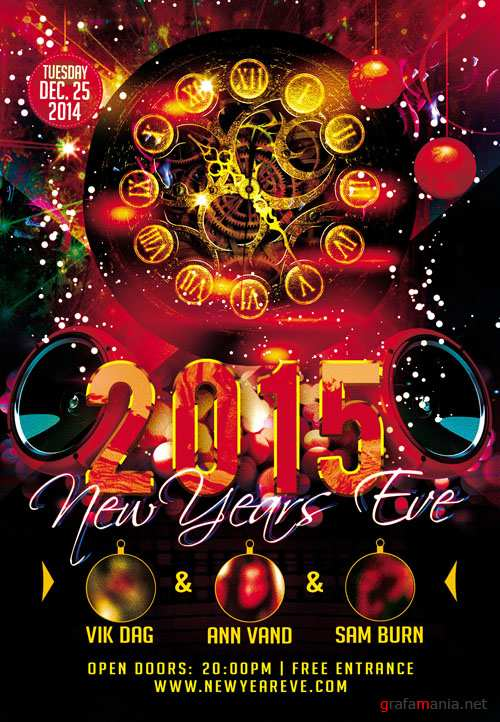 Club Flyer PSD Template - New Years Eve