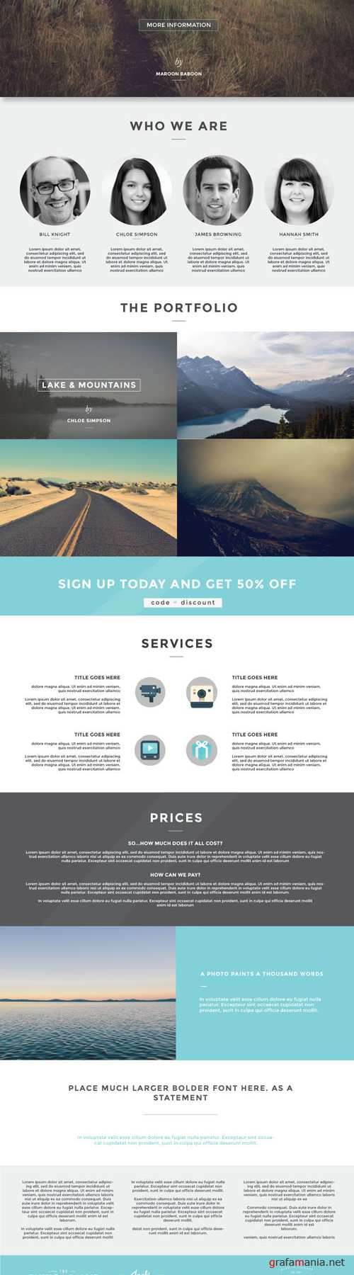 One Page PSD Template Design - Creativemarket 104595
