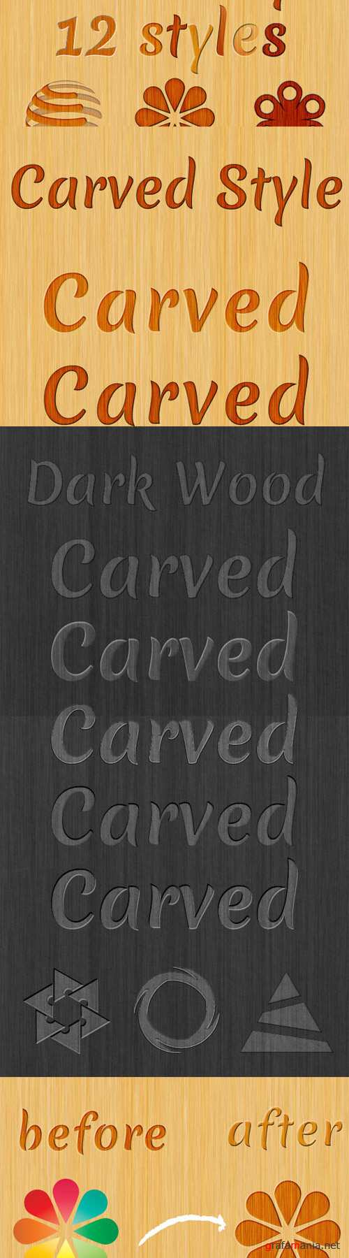 CreativeMarket - 12 Carved Wood Styles 1619
