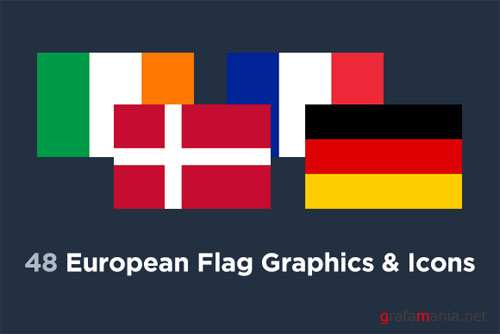 48 European Flag Country Icons - Creativemarket 87592