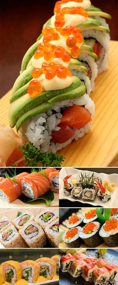 Stock Photo Japanese sushi traditional japanese food.Roll made of salmon
