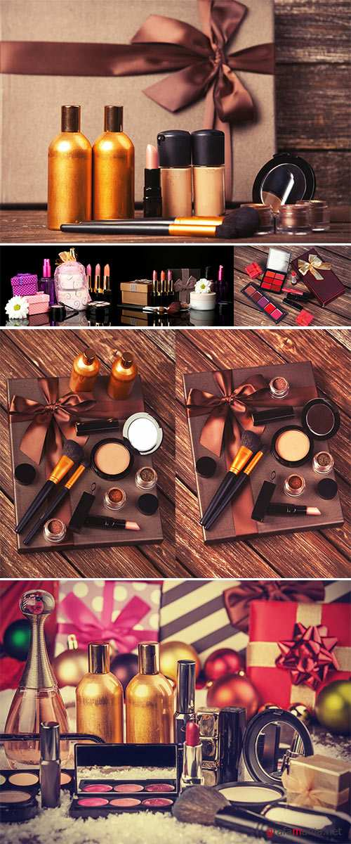 Stock Photo Cosmetics and gift box on wooden table