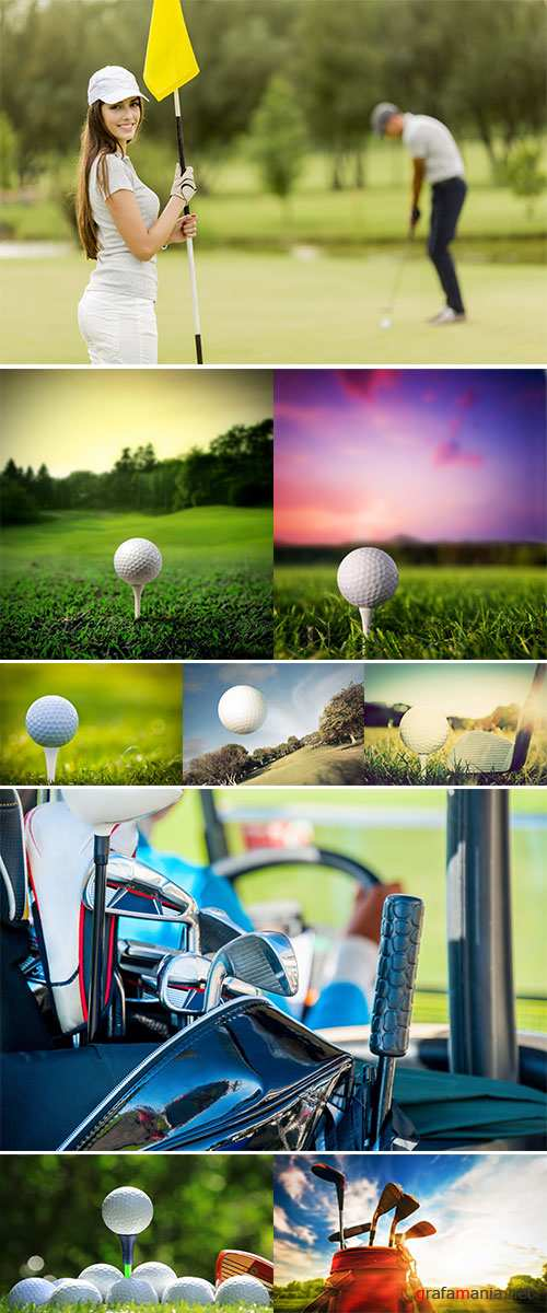 Stock Photo Golf club and ball on green grass
