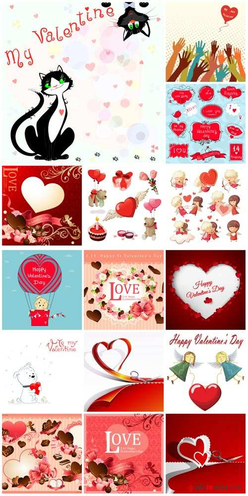 Valentine's Day vector, hearts, angels, romantic backgrounds