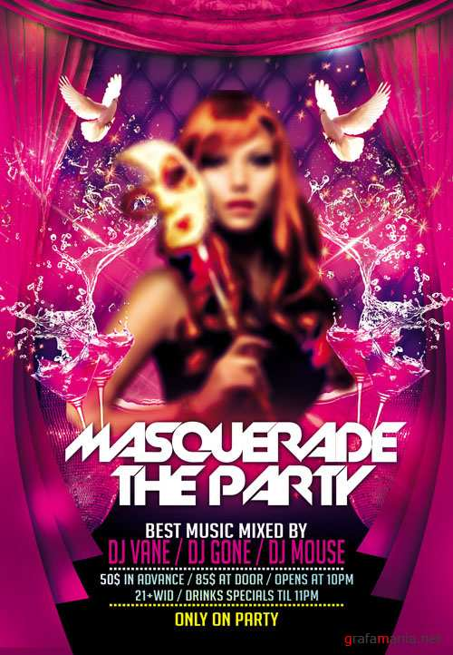 Club Flyer PSD Template - Masquerade Party