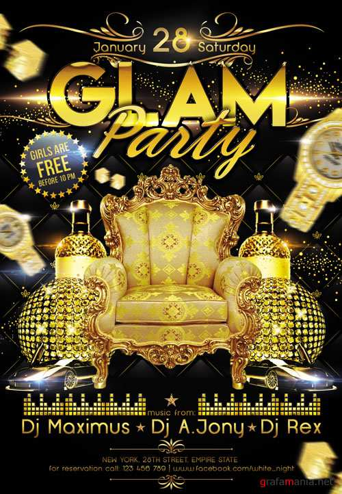 Club Flyer PSD Template - Glam Party