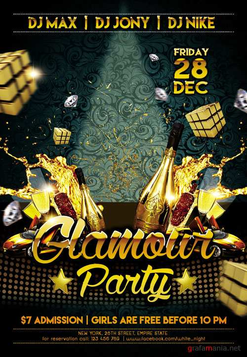 Club Flyer PSD Template - Glamour Party