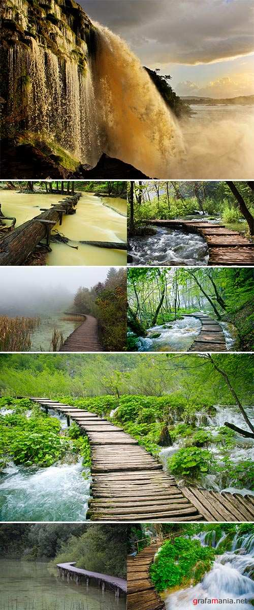 Stock Photo Wooden path and waterfall in Plitvice National Park