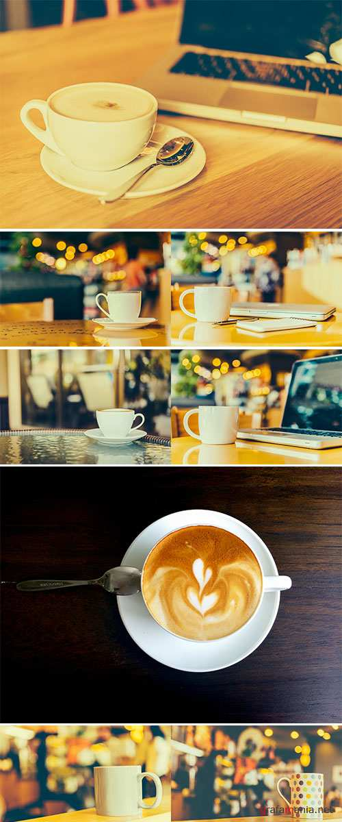 Stock Photo Coffee cup on wooden table in coffee shop cafe, Vintage effect style pictures