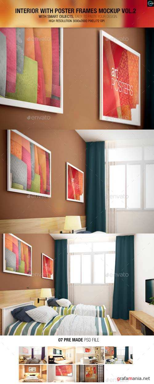 GraphicRiver Interior With Poster Frames Mock-up Vol.2