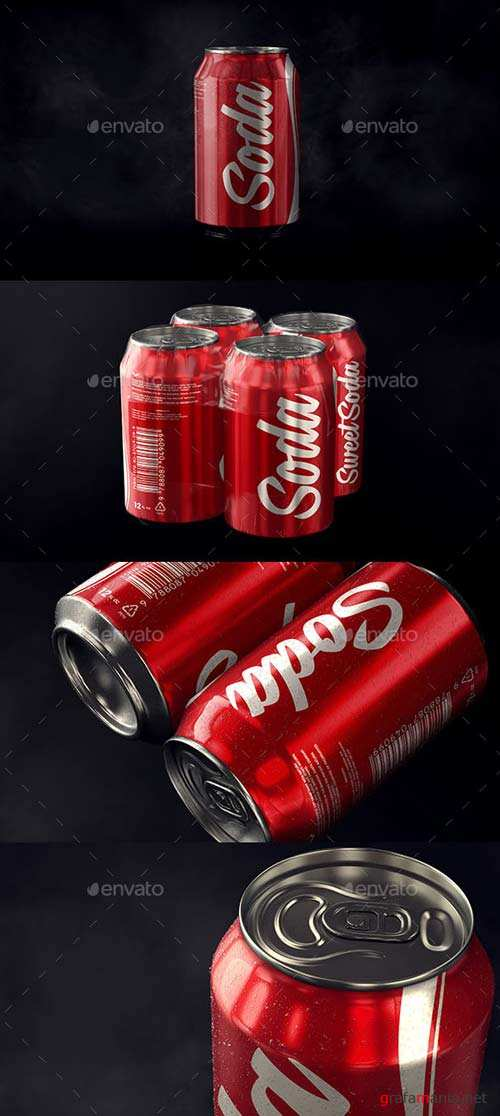 GraphicRiver Photorealistic Aluminum Soda Can Mockup