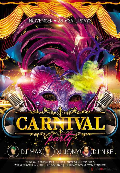 Flyer PSD Template - Carnival Party