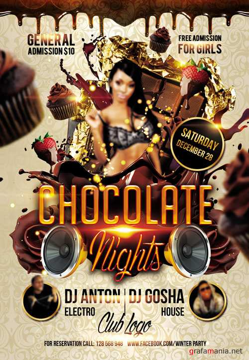 Flyer PSD Template - Chocolate Nights
