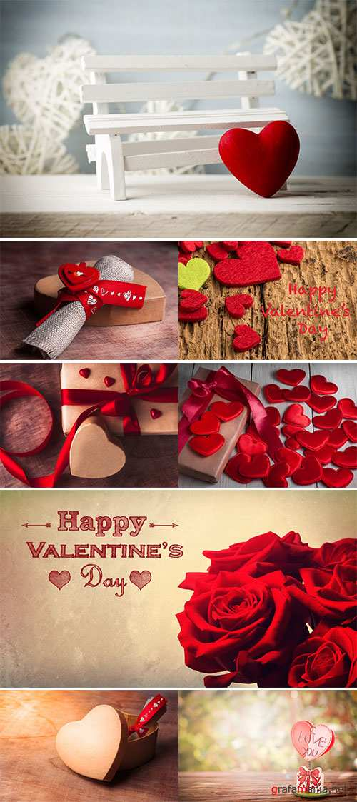 Stock Photo Gift tied with ribbon and red heart on wooden background, Valentine's day