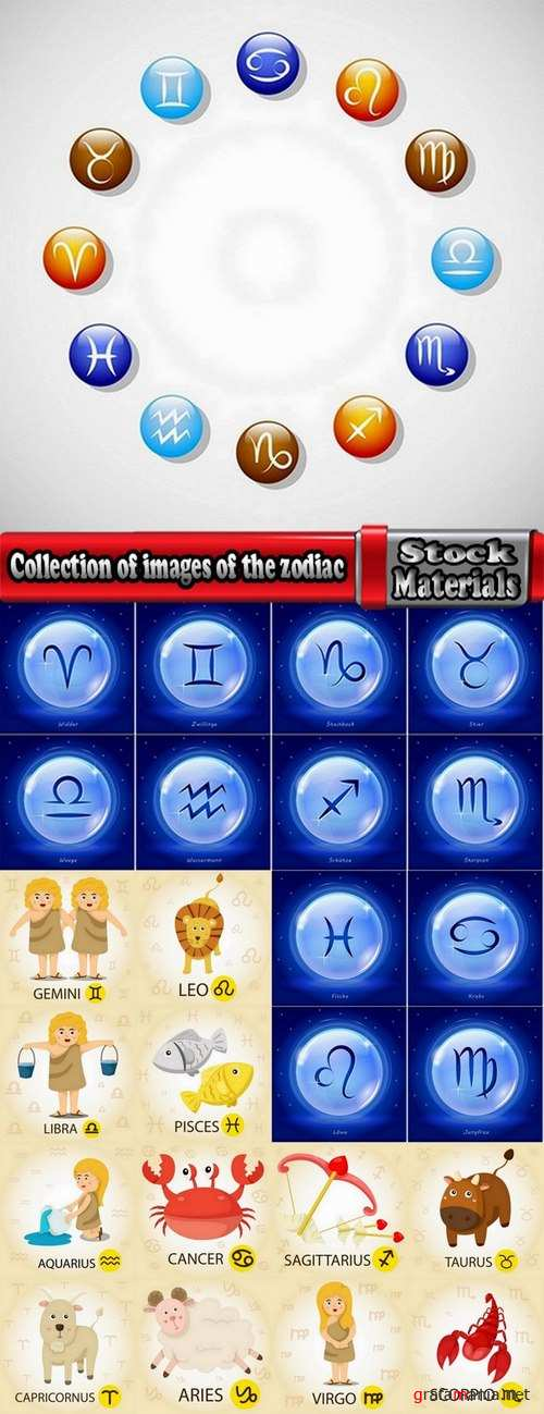 Collection of images of the zodiac vector images 25 Eps