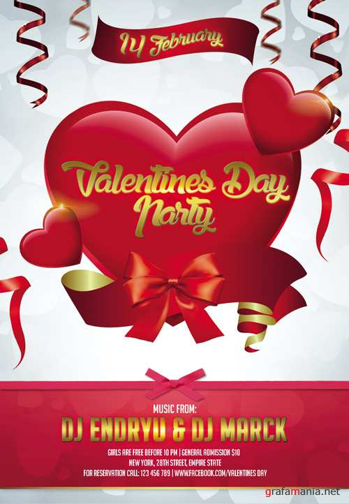 Flyer Template - Valentines Day Party Club and Party