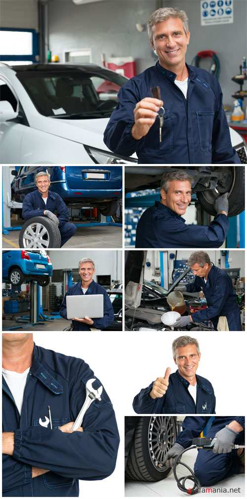 Car workshop, man repairing a car - stock photos