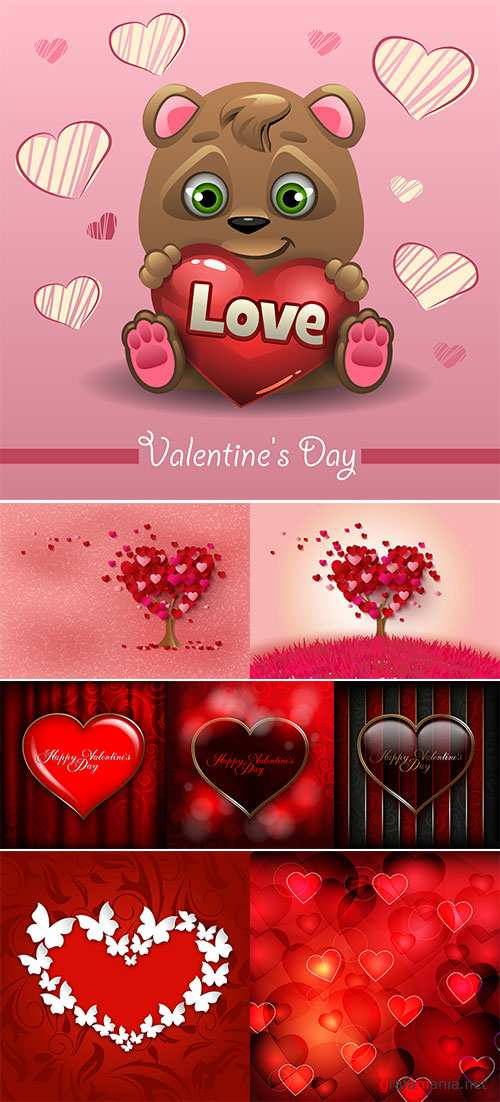 Stock Vector romantic greeting card, Valentines day