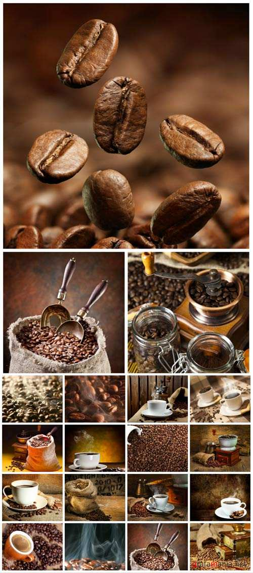Coffee, coffee beans and a cup of coffee - stock photos