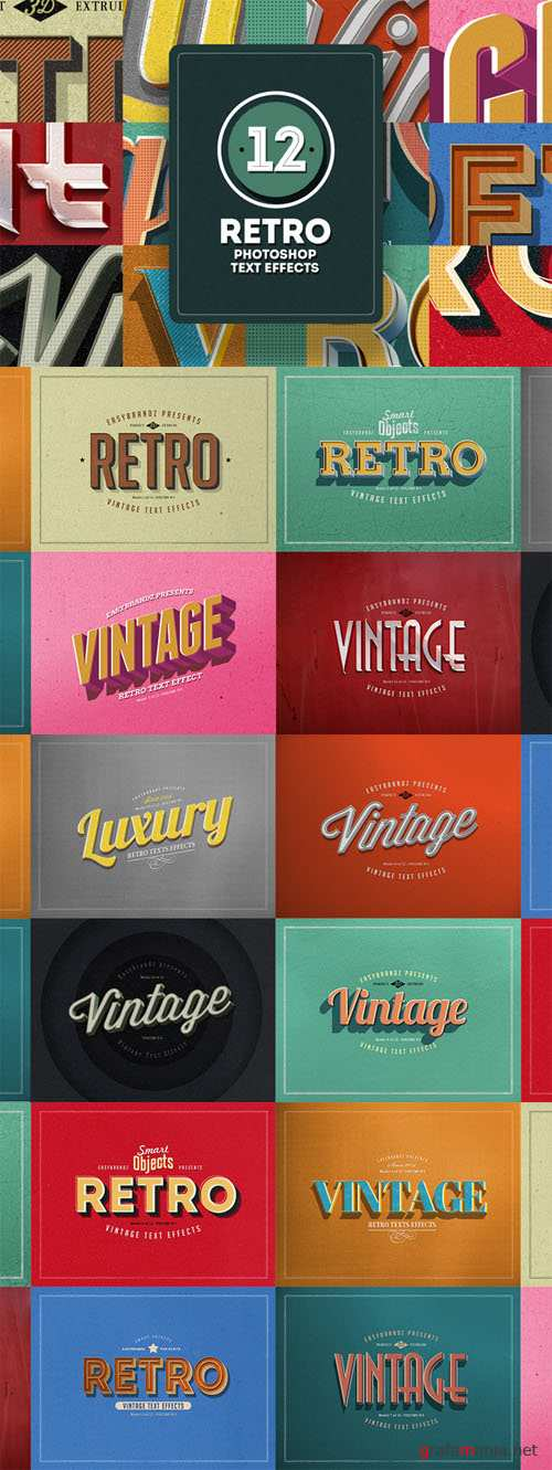 Retro Text Effects Vol.01 - Creativemarket 65381