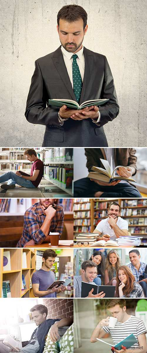 Stock Photo Young man reading a book