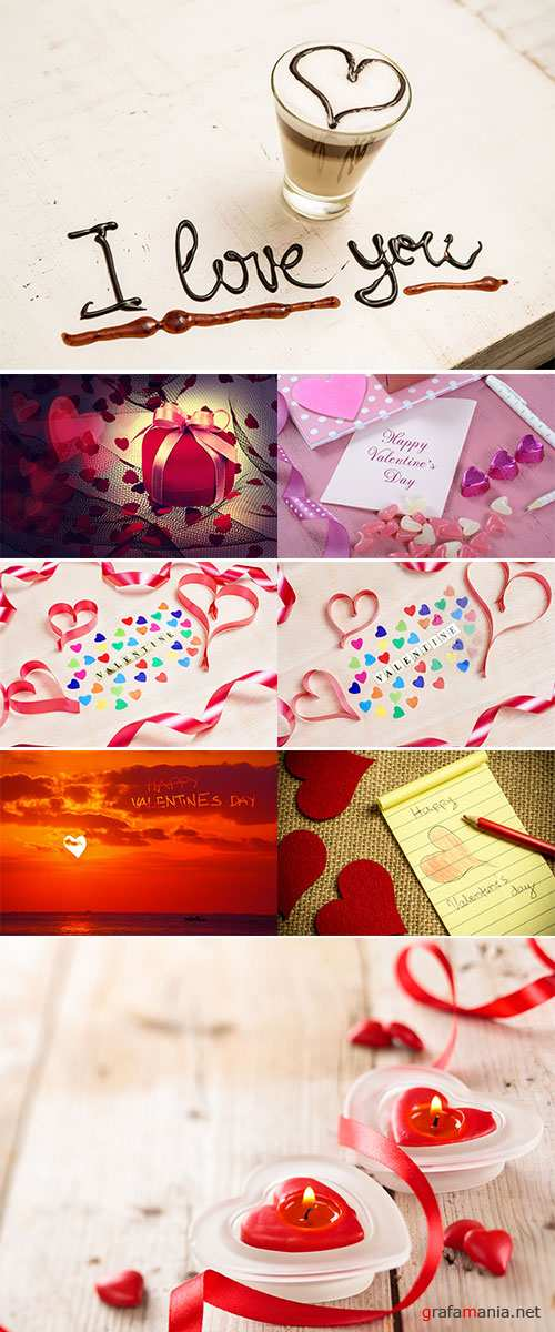 Stock Photo Valentine background written with hearts and ribbon