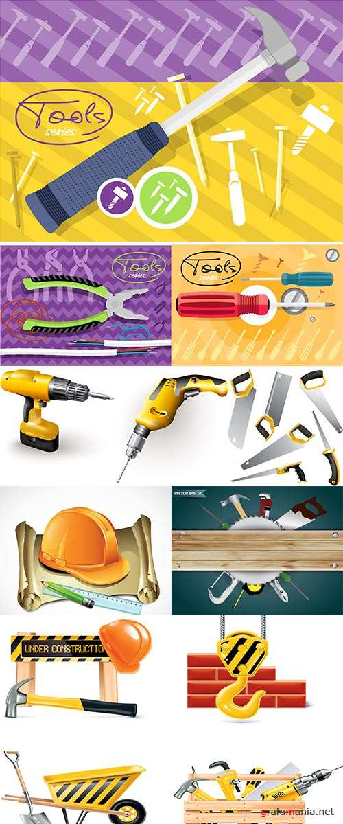 Stock Tools series, Flat icon modern design style concept