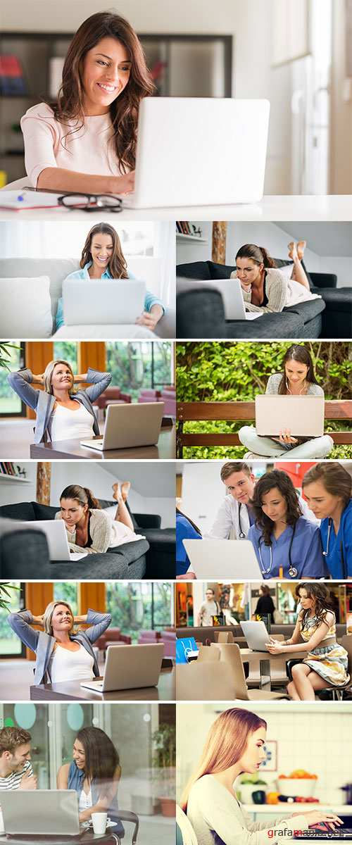 Stock Photo Female using laptop