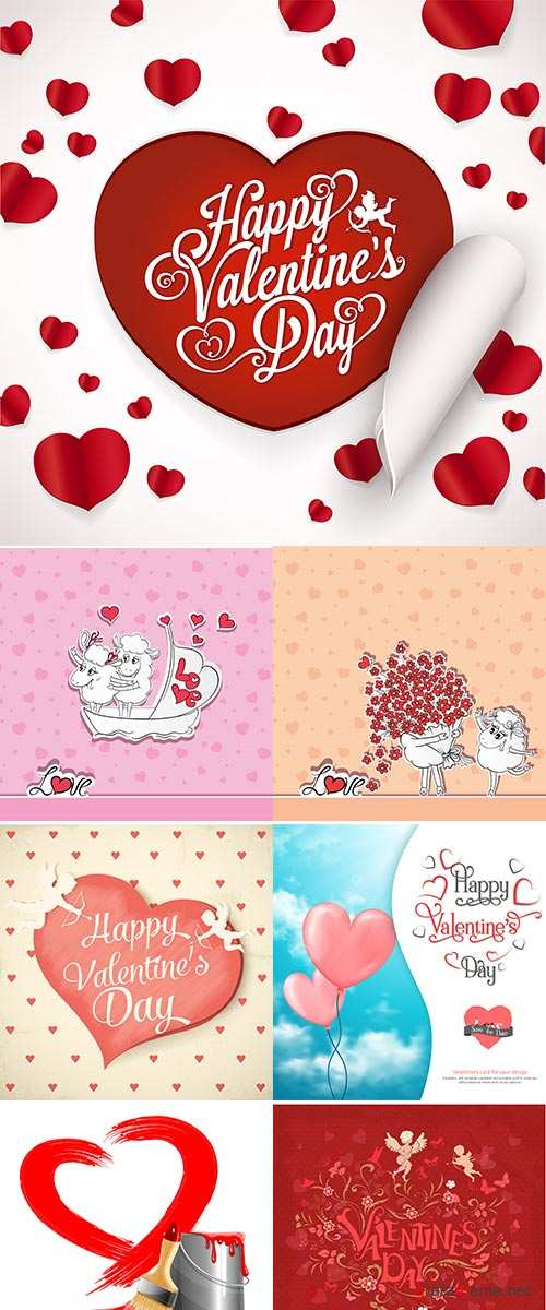 Stock Idea for greeting card with Happy Wedding or Valentine's Day, Vector illustration
