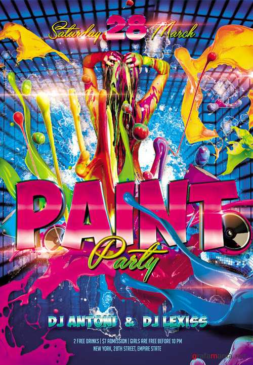 Flyer PSD Template - Paint Party