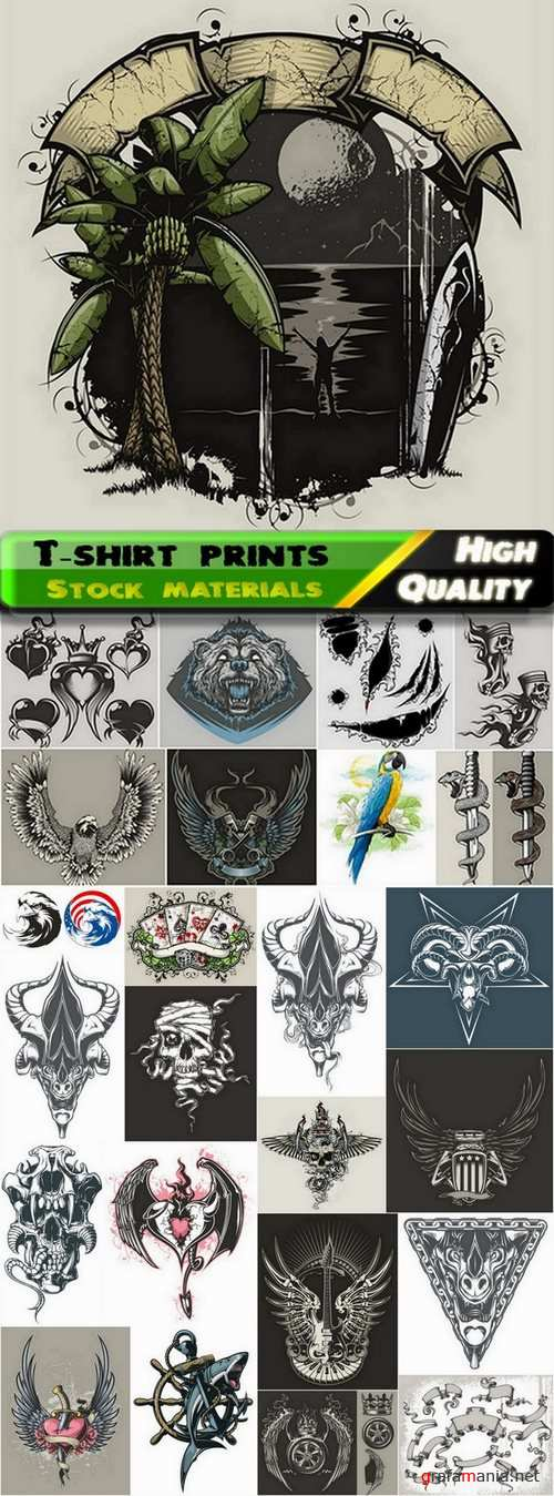 T-shirt prints design in vector from stock #39 - 25 Eps