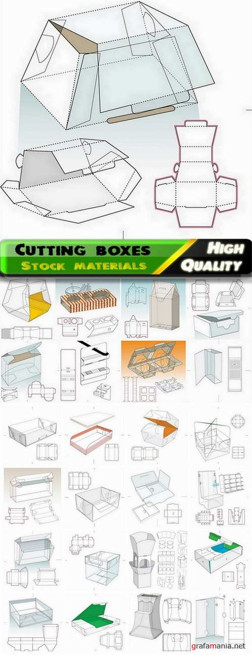 Template for cutting boxes in vector from stock #8 - 25 Eps