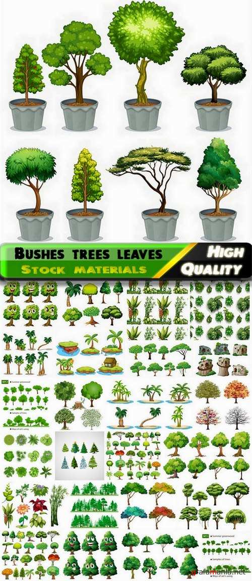 Bushes trees leaves and grass illustrations - 25 Eps