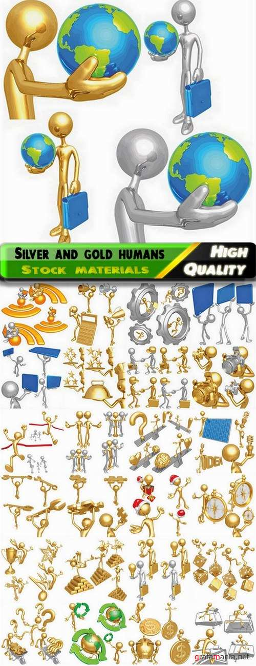 Silver and gold 3D business humans - 25 Eps