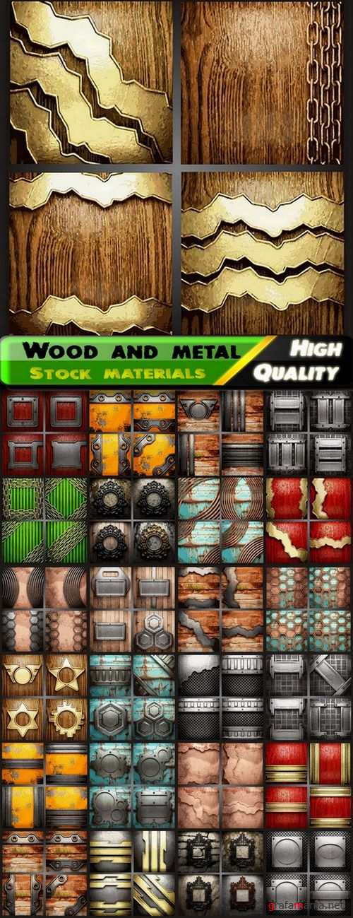 Realistic wood and metal backgrounds - 25 Eps