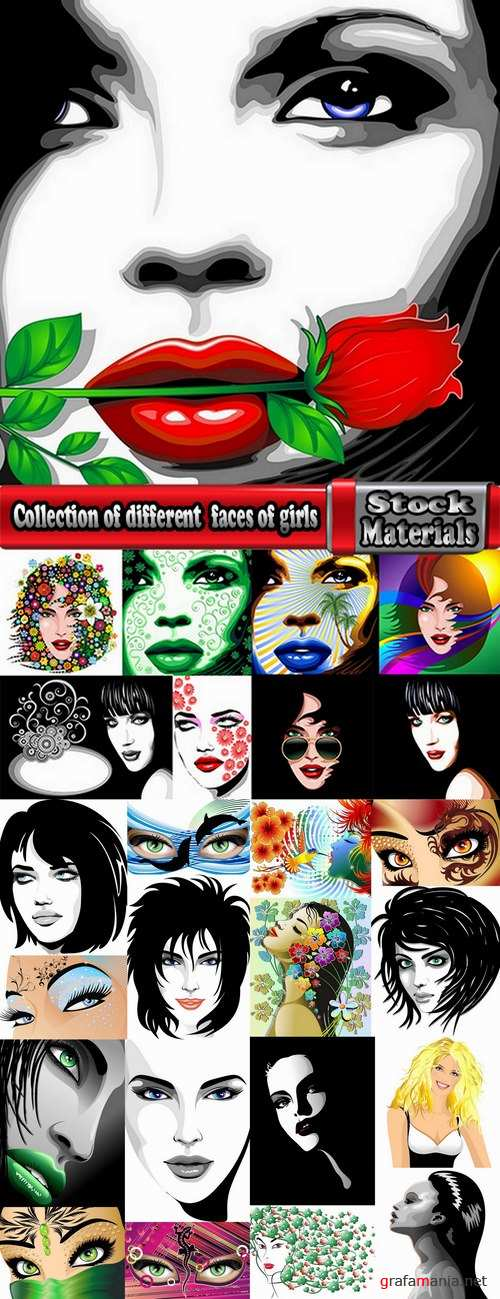 Collection of different vector image of beautiful faces of girls 25 Eps