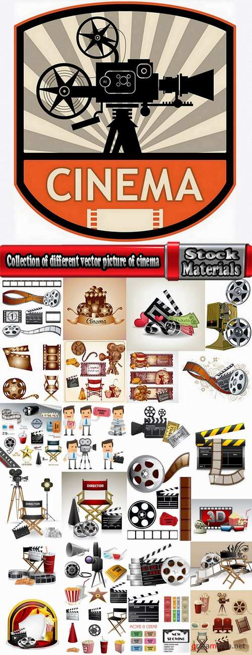 Collection of different vector picture of cinema 25 Eps