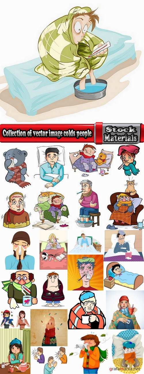 Collection of vector image colds people 25 Eps