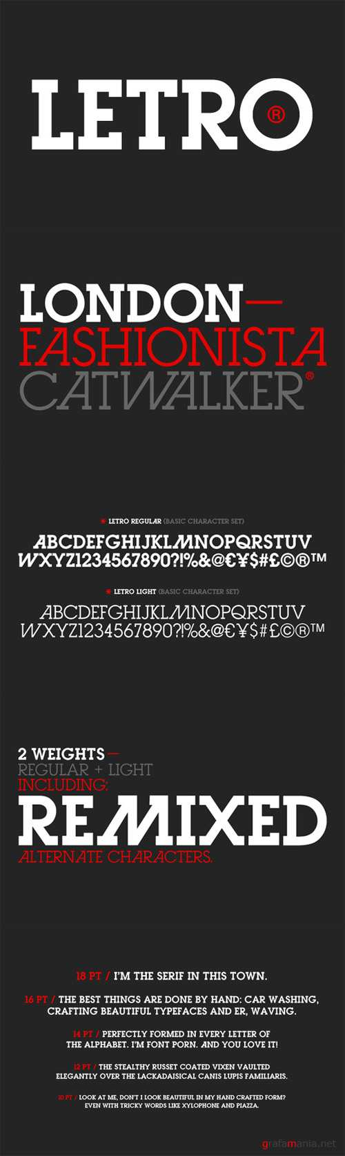 Letro Regular and Light Font